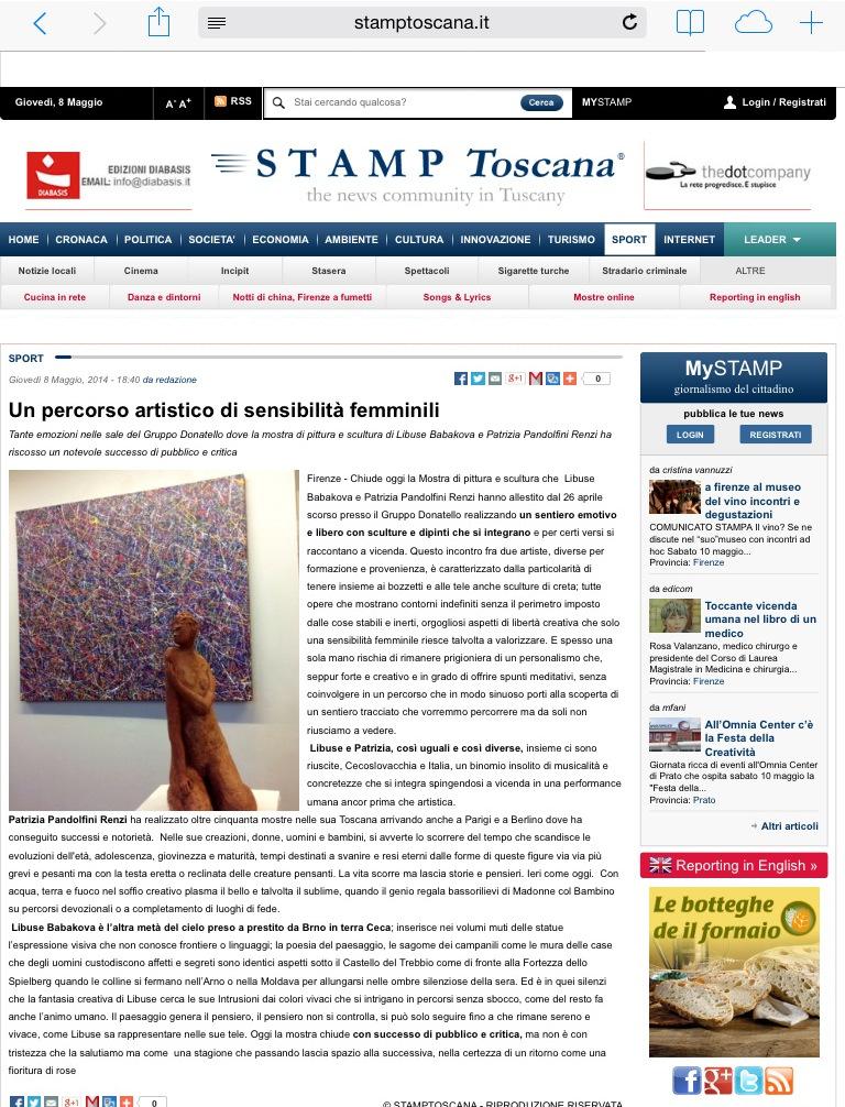 Stamp Toscana - 8 maggio 2014 - Mostra Libuse Babakova