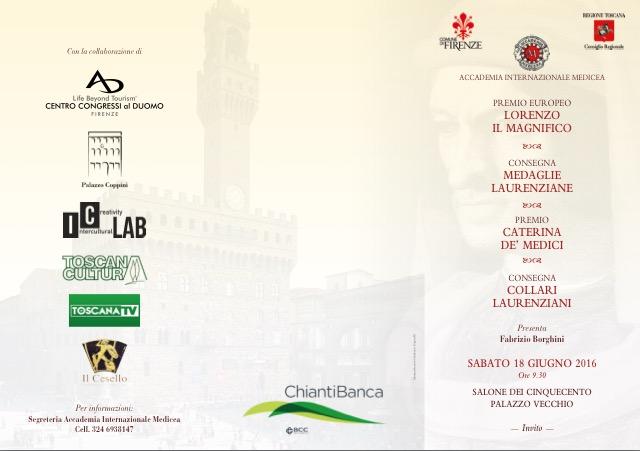 Invito Premio Europeo Lorenzo Il Magnifico Accademia Internazionale Medicea di Firenze