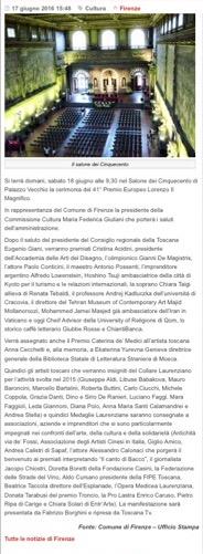 Articolo dell'Ufficio Stampa Comune di Firenze